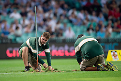 March 9, 2019 - Sydney, NSW, U.S. - SYDNEY, NSW - MARCH 09: Ground staff do some repairs on the field at round 4 of Super Rugby between NSW Waratahs and Queensland Reds on March 09, 2019 at The Sydney Cricket Ground, NSW. (Photo by Speed Media/Icon Sportswire) (Credit Image: © Speed Media/Icon SMI via ZUMA Press)