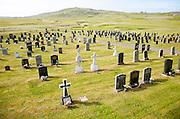 Burial ground set in machair grassland at Allathasdal, Barra, Outer Hebrides, Scotland, UK