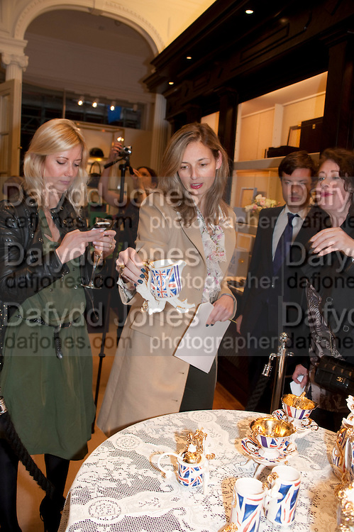 SIGRID WILKINSON; CANDIDA GERTLER; KATIE MCBRIDE, Smythson Royal Wedding exhibition preview. Smythson together with Janice Blackburn has commisioned 5 artist designers to create their own interpretations of  Royal wedding memorabilia. Smythson. New Bond St. London. 5 April 2011.  -DO NOT ARCHIVE-© Copyright Photograph by Dafydd Jones. 248 Clapham Rd. London SW9 0PZ. Tel 0207 820 0771. www.dafjones.com.