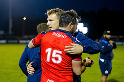 Bristol Rugby Full Back Luke Arscott and Mitch Eadie hug after Bristol Rugby win 13-28 to take a 15 point lead into the second leg of the Final - Mandatory byline: Rogan Thomson/JMP - 18/05/2016 - RUGBY UNION - Castle Park - Doncaster, England - Doncaster Knights v Bristol Rugby - Greene King IPA Championship Play Off FINAL 1st Leg.
