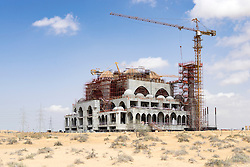 Large new mosque under construction in the desert near Dubai United Arab Emirates