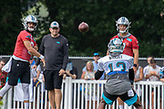 Carolina Panthers quarterback Will Grier (3) completes a pass to wide receiver Jarius Wright (13) during training camp at Wofford College, Sunday, August 11, 2019, in Spartanburg, S.C. (Brian Villanueva/Image of Sport)