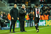 Newcastle United manager Steve Bruce congratulates Isaac Hayden (#14) of Newcastle United on scoring Newcastle United's first goal (1-0) during the Premier League match between Newcastle United and Chelsea at St. James's Park, Newcastle, England on 18 January 2020.
