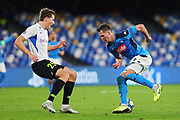 Sander Berge of Genk (L) and Arkadiusz Milik of Napoli (R) in action during the UEFA Champions League, Group E football match between SSC Napoli and KRC Genk on December 10, 2019 at Stadio San Paolo in Naples, Italy - Photo Federico Proietti / ProSportsImages / DPPI