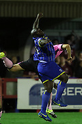 Bayo Akinfenwa of AFC Wimbledon during the Sky Bet League 2 match between AFC Wimbledon and Northampton Town at the Cherry Red Records Stadium, Kingston, England on 29 September 2015. Photo by Stuart Butcher.
