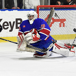 BUFFALO, NY - SEP 20,  2017: Ontario Junior Hockey League Governors Showcase game between the Toronto Jr. Canadiens and Wellington Dukes, Dalton Ewing #29 of the Toronto Jr. Canadiens makes the save during the second period. <br /> (Photo by Andy Corneau / OJHL Images)