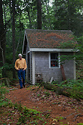 PEMAQUID POINT, MAINE &ndash; JULY 30, 2014:  Douglas Preston, a bestselling author with Hachette Publishing, at the shack he uses as a writing space. Preston has become a leading opponent of Amazon in the conflict between retailer and publishers. <br /> <br /> Credit: Craig Dilger for The New York Times