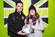 Matchball sponsor with Forest Green Rovers Liam Shephard(2) during the EFL Sky Bet League 2 match between Forest Green Rovers and Grimsby Town FC at the New Lawn, Forest Green, United Kingdom on 22 January 2019.