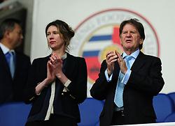 Sir John Madejski (right)  - Photo mandatory by-line: Alex James/JMP - Mobile: 07966 386802 - 14/04/2015 - SPORT - Football - Reading - Madejski Stadium - Reading v AFC Bournemouth - Sky Bet Championship
