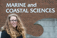 Rutgers student Taylor Dodge, who will be embarking on a journey to Antarctica to conduct research projects gathering data on the effects of climate change, chats about her trip Tuesday, December 12, 2017 outside the Rutgers University-New Brunswick's Department of Marine and Coastal Sciences building in New Brunswick, New Jersey. (WILLIAM THOMAS CAIN / For The Philadelphia Inquirer)