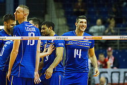 08.01.2016, Max Schmeling Halle, Berlin, GER, CEV Olympia Qualifikation, Frankreich vs Bulgarien, im Bild Freude bei NiclasLe Goff (#14, Frankreich/France) // during 2016 CEV Volleyball European Olympic Qualification Match between France and Bulgaria at the  Max Schmeling Halle in Berlin, Germany on 2016/01/08. EXPA Pictures © 2016, PhotoCredit: EXPA/ Eibner-Pressefoto/ Wuechner<br /> <br /> *****ATTENTION - OUT of GER*****