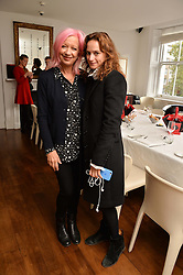 Left to right, MARY GREENWELL and ANGHARAD WOOD at a lunch to promote the jewellery created by Luis Miguel Howard held at Morton's, Berkeley Square, London on 20th October 2016.