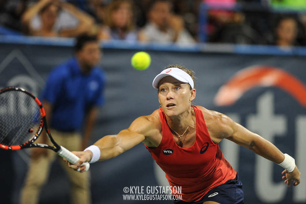 SAM STOSUR of Australia plays against Sloane Stephens of the United States at Day 6 of the Citi Open at the Rock Creek Tennis Center in Washington, D.C. Stosur lost in straight sets.