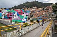 Bogota, Cundinamarca, Colombia - 10.09.2016        <br /> <br /> Peace mural extends over several buildings in the Colombian capital Bogota. On 2nd October a peace referendum takes place about the end of the 52 years ongoing civil war between the marxist FARC-EP guerrilla and the government.<br /> <br /> Mit einem sich &uuml;ber mehrere Geb&auml;ude erstreckenden Wandbild wird in der kolumbianischen Hauptstadt Bogota f&uuml;r Frieden geworben. Am 02. Oktober findet eine Volksabstimmung &uuml;ber das Ende des seit 52 Jahren dauernden B&uuml;rgerkrieges zwischen der marxistischen FARC-EP Guerilla und der Regierung statt.<br /> <br /> Photo: Bjoern Kietzmann
