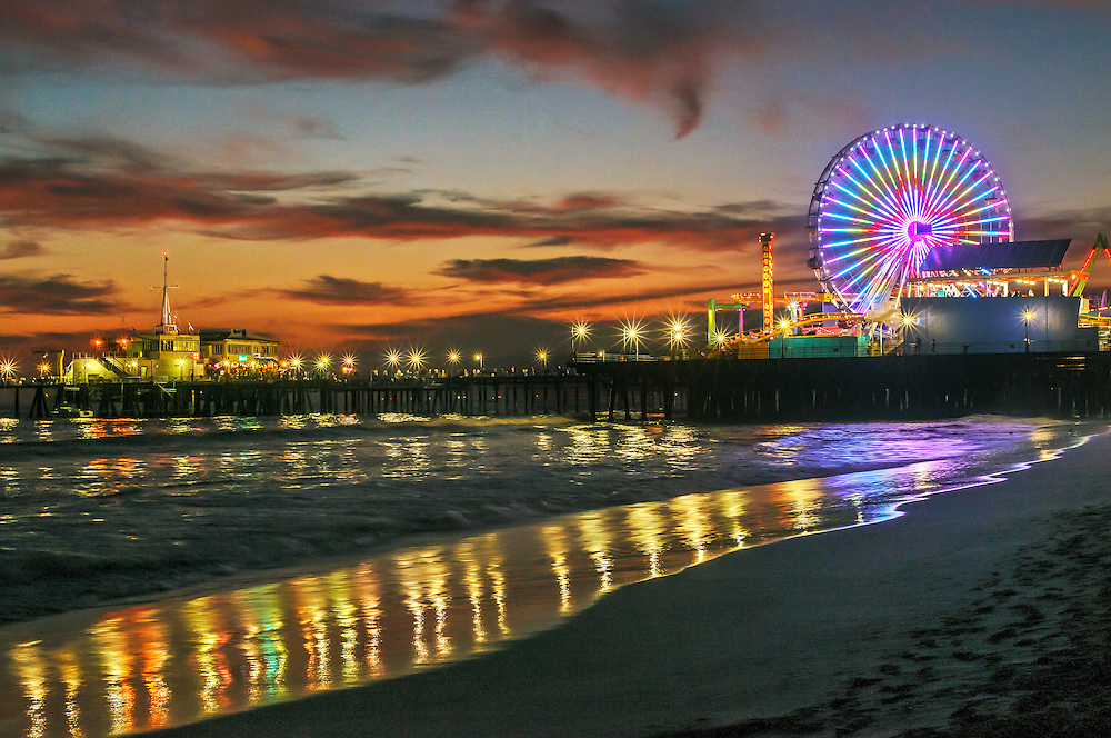 Santa Monica Pier, Twilight, Santa Monica, California