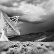Radio Telescope - North Owens Valley - Lensbaby - Infrared Black & White