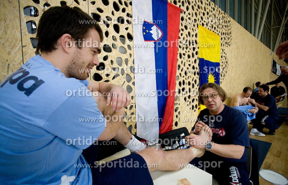 Jure Natek and physiotherapist Gorazd Zuzek at Open training session for the public of Slovenian handball National Men team before European Championships Austria 2010, on December 27, 2009, in Terme Olimia, Podcetrtek, Slovenia.  (Photo by Vid Ponikvar / Sportida)