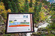 Interpretive sign at Box Canyon Falls, Ouray, Colorado USA