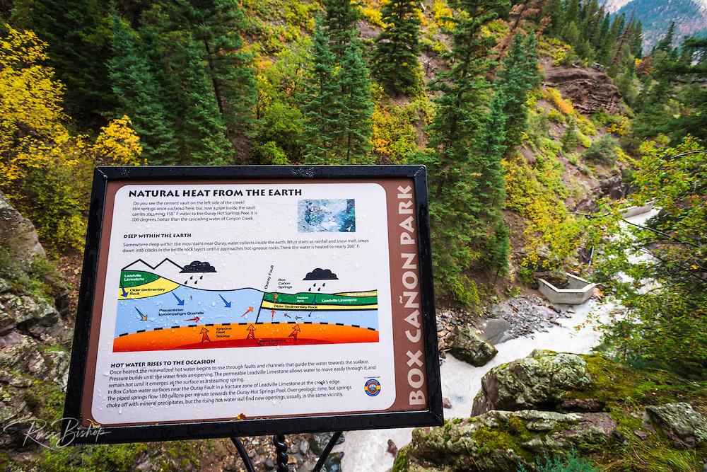Interpretive sign at Box Canyon Falls, Ouray, Colorado USA
