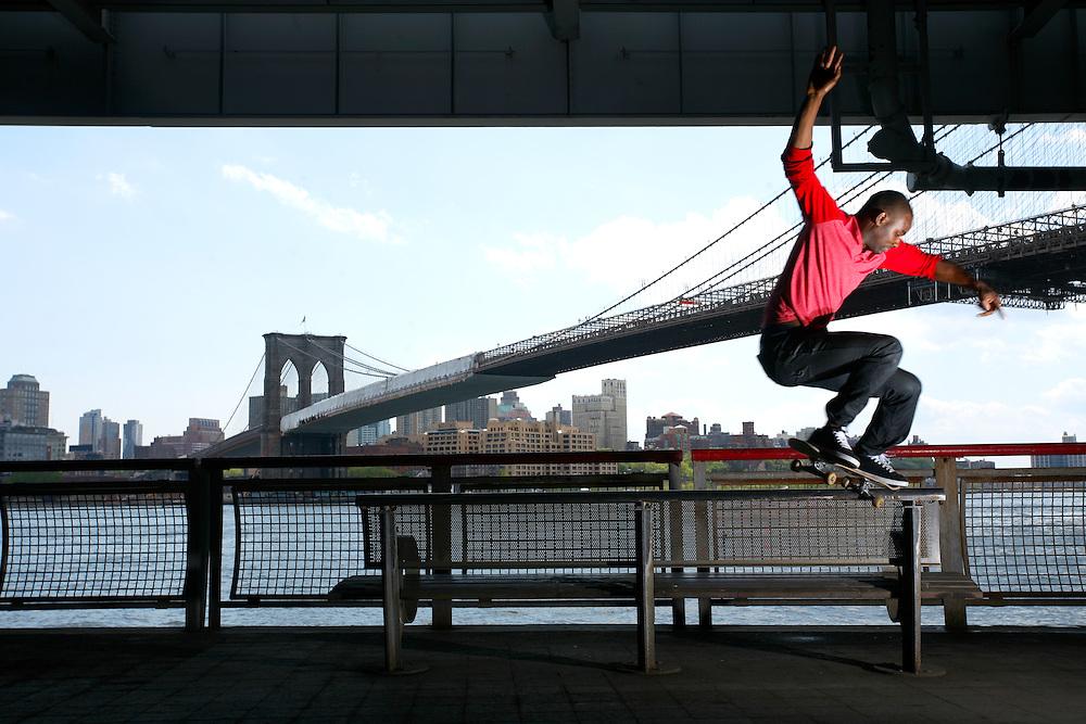 Skateboarder Preston Pollard in New York, New York.