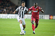 23.10.12. Copenhagen, Denmark. UEFA Champions League Group E, FC Nordsjaelland  1 vs Juventus 1 at the Parken Stadium. Bonucci (L) of Juventus fights for the ball with Okore (R) of FC Nordsjaelland during the UEFA Champions League. Photo: © Ricardo Ramirez..
