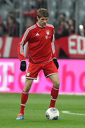 15.03.2014, Allianz Arena, Muenchen, GER, 1. FBL, FC Bayern Muenchen vs Bayer 04 Leverkusen, 25. Runde, im Bild Thomas Mueller #25 (FC Bayern Muenchen) beim warm up // during the German Bundesliga 25th round match between FC Bayern Munich and Bayer 04 Leverkusen at the Allianz Arena in Muenchen, Germany on 2014/03/16. EXPA Pictures © 2014, PhotoCredit: EXPA/ Eibner-Pressefoto/ Kolbert<br /> <br /> *****ATTENTION - OUT of GER*****