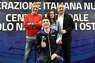 Roma 13-3-2019 Centro Federale di Ostia <br /> Swimmer Manuel Bortuzzo (c), his mother Rossella Corona, his father Franco and the italian swimming federation president Paolo Barelli pose for a picture at the end of a meeting with the press. Manuel Bortuzzo was shot in the back due to a mistaken identity and is paralysed from the waist down since then. This is the first outing of Manuel from the hospital and the rehabilitation center.  <br /> Foto Andrea Staccioli / Deepbluemedia / Insidefoto