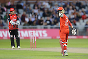Lancashires Alex Davies reaches 50 during the Vitality T20 Blast North Group match between Lancashire Lightning and Durham Jets at the Emirates, Old Trafford, Manchester, United Kingdom on 7 August 2018.