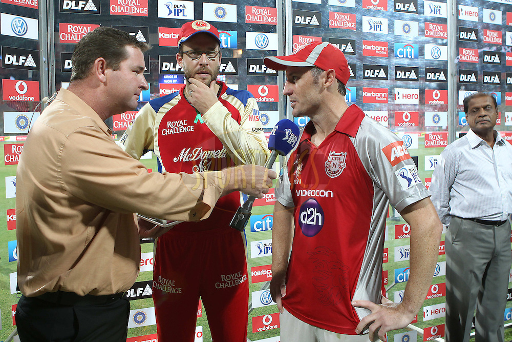 David Hussey and Daniel Vettori are interviewed after the match during match 44 of the the Indian Premier League ( IPL) 2012  between The Royal Challengers Bangalore and the Kings XI Punjab held at the M. Chinnaswamy Stadium, Bengaluru on the 2nd May 2012..Photo by Ron Gaunt/IPL/SPORTZPICS