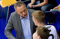 Zmago Sagadin, coach of Slovenian team talks to Luka Rupnik during Slovenian basketball All Stars Domzale 2012 event, on January 2, 2012 in Hala Komunalnega centra, Domzale, Slovenia.  (Photo By Vid Ponikvar / Sportida.com)