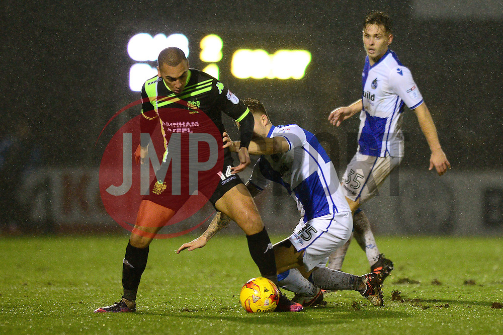 James Clarke of Bristol Rovers challenges James Vaughan of Bury - Mandatory by-line: Dougie Allward/JMP - 10/12/2016 - FOOTBALL - Memorial Stadium - Bristol, England - Bristol Rovers v Bury - Sky Bet League One