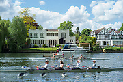 Maidenhead. Berkshire. United Kingdom. General view, Umpires launch moves in to position to umpire a JM4X in the opening strokes of their heat on the course of the 2017 Maidenhead Junior Regatta  River Thames. <br /> <br /> [©Peter SPURRIER/Intersport Images] Sunday. 14.05.2017