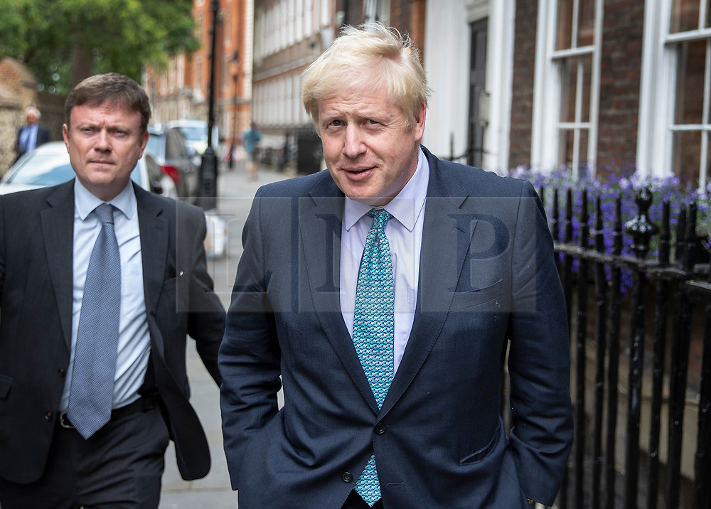 © Licensed to London News Pictures. 08/07/2019. London, UK. Conservative Party leadership front runner Boris Johnson is seen near Parliament. Later the remaining two candidates, Boris Johnson and Jeremy Hunt, will take part in a leadership hustings hosted by The Daily Telegraph. Photo credit: Peter Macdiarmid/LNP