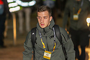 Karlo Bartolec of FC Copenhagen steps off the bus at Parkhead ahead of the Europa League match between Celtic and FC Copenhagen at Celtic Park, Glasgow, Scotland on 27 February 2020.