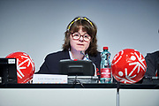 Graz, Austria - 2017 March 18: Lize Weerdenburg from Austria (International Global Messenger) speaks during Global Forum on Inclusion in Social Affairs and Sports while Special Olympics World Winter Games Austria 2017 at Convention Centre Messe Graz on March 18, 2017 in Graz, Austria.<br /> <br /> Mandatory credit:<br /> Photo by &copy; Adam Nurkiewicz / Mediasport<br /> <br /> Adam Nurkiewicz declares that he has no rights to the image of people at the photographs of his authorship.<br /> <br /> Picture also available in RAW (NEF) or TIFF format on special request.<br /> <br /> Any editorial, commercial or promotional use requires written permission from the author of image.<br /> <br /> Image can be used in the press when the method of use and the signature does not hurt people on the picture.