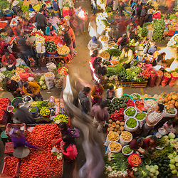 Colorful view of the sunday fruit and vegetable market in Chichicastenango, Guatemala.