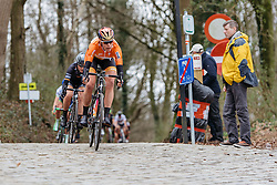 Ellen van Dijk descends off Kemmelberg for the final time - Women's Gent Wevelgem 2016, a 115km UCI Women's WorldTour road race from Ieper to Wevelgem, on March 27th, 2016 in Flanders, Belgium.