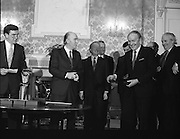 New Fianna Fáil Administration Sworn In.  (R52)..1987..10.03.1987..03.10.1987..10th March 1987..After their win in the recent general election the new Fianna Fáil government,under the leadershio of Charles Haughey, was sworn in and given their seals of offce at a ceremony in Áras an Uachtaráin today. The government received their seals from President Patrick Hillery...A very happy Michael O'Kennedy after he received his seal of office from President Hillery.