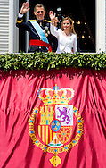 MADRID - King Felipe, Queen Letizia, Princess Leonor and Princess Sofia, Juan Carlos ,  and Infantas Leonor Sofia and Princess Elena   at palace balkony  of the new Spanish king in Madrid, Spain, 19 June 2014. After the investiture ceremony King Felipe and his family attend military parade.COPYRIGHT ROBIN UTRECHT