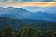 Early morning view from an overlook along the Blue Ridge Parkway between Roanoke and Mabry Mill in Virginia