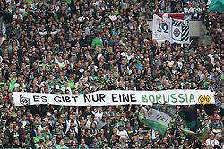 """05.10.2013, Borussia Park, Moenchengladbach, GER, 1. FBL, Borussia Moenchengladbach vs Borussia Dortmund, 8. Runde, im Bild Spruchband der Fans von Borussia Moenchengladbach """"Es gibt nur eine Borussia"""", // during the German Bundesliga 8th round match between Borussia Moenchengladbach and Borussia Dortmund at the Borussia Park, Moenchengladbach, Germany on 2013/10/05. EXPA Pictures © 2013, PhotoCredit: EXPA/ Eibner/ Joerg Schueler<br /> <br /> ***** ATTENTION - OUT OF GER *****"""