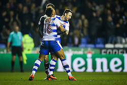 Liam Moore of Reading celebrates with Roy Beerens of Reading as they take the lead, Reading 3-2 Brentford - Mandatory by-line: Jason Brown/JMP - 14/02/2017 - FOOTBALL - Madejski Stadium - Reading, England - Reading v Brentford - Sky Bet Championship
