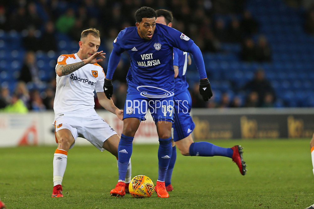 Cardiff City  Nathaniel Mendez-Laing (19) on the ball during the EFL Sky Bet Championship match between Cardiff City and Hull City at the Cardiff City Stadium, Cardiff, Wales on 16 December 2017. Photo by Gary Learmonth.