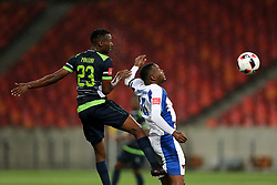 Sphiwe Mnguni of Platinum Stars takes the header over Andile Mbenyane of Chippa United during the 2016 Premier Soccer League match between Chippa United and Platinum Stars held at the Nelson Mandela Bay Stadium in Port Elizabeth, South Africa on the 28th October 2016<br />