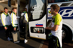 Goalkeeper of Slovenia Jasmin Handanovic, Matej Mavric, Andrej Komac at departure of Slovenia National team from Southern Sun Hyde Park Hotel to airport for flight home after the last 2010 FIFA World Cup South Africa Group C  match between Slovenia and England on June 25, 2010 at Southern Sun Hyde Park Hotel, Johannesburg, South Africa. (Photo by Vid Ponikvar / Sportida)