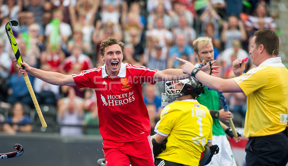 England's Harry Martin celebrates after scoring the opening goal. England v Ireland - 3rd/4th playoff Unibet EuroHockey Championships, Lee Valley Hockey & Tennis Centre, London, UK on 29 August 2015. Photo: Simon Parker