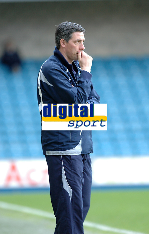 Photo: Tony Oudot/Richard Lane Photography. Millwall v Stockport Country. Coca-Cola Football League One. 27/03/2010. <br /> Stockport County manager Gary Ablett looks dejected as his side falls to a five nil defeat