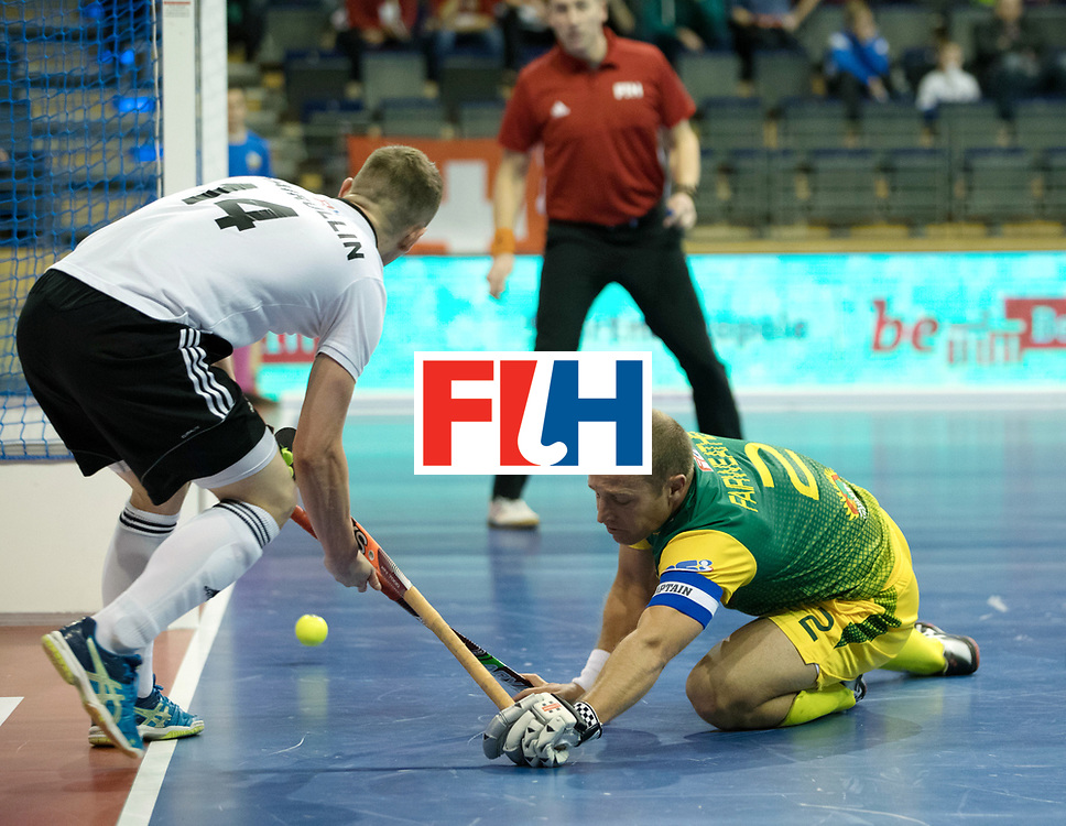 BERLIN - Indoor Hockey World Cup<br /> Men: Russia - South Africa<br /> foto: FAIRWEATHER Matthew (C) defending.<br /> COPYRIGHT WILLEM VERNES