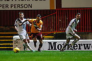 Motherwell FC Midfielder Marvin Johnson on the attack during the Ladbrokes Scottish Premiership match between Motherwell and Dundee at Fir Park, Motherwell, Scotland on 12 December 2015. Photo by Craig McAllister.