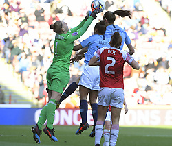 February 23, 2019 - Sheffield, England, United Kingdom - Sari Van Veenendaal (Arsenal) gets to the ball first        during the  FA Women's Continental League Cup Final  between Arsenal and Manchester City Women at the Bramall Lane Football Ground, Sheffield United FC Sheffield, Saturday 23rd February. (Credit Image: © Action Foto Sport/NurPhoto via ZUMA Press)